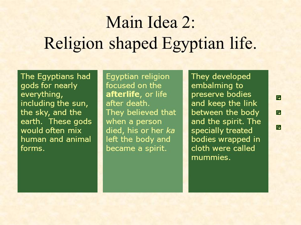 The Egyptians had gods for nearly everything, including the sun, the sky, and the earth. These gods would often mix human and animal forms. Egyptian r