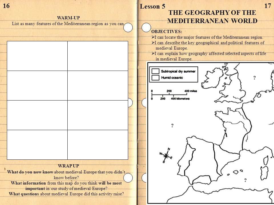 16 WARM-UP List as many features of the Mediterranean region as you can. 17 Lesson 5 THE GEOGRAPHY OF THE MEDITERRANEAN WORLD OBJECTIVES: I can locate