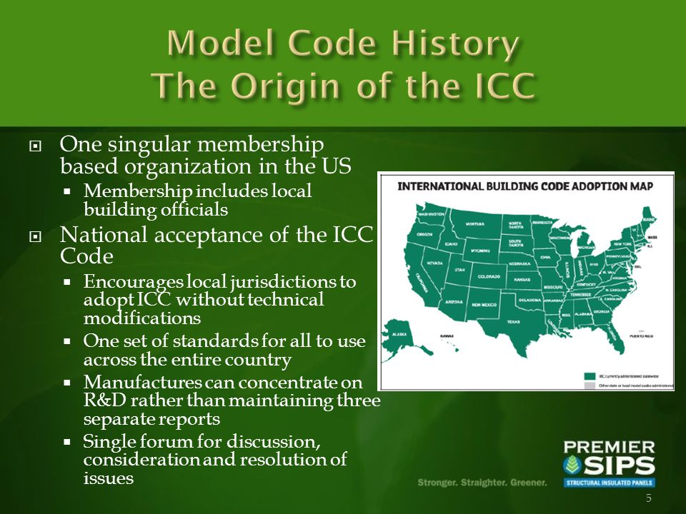 5 One singular membership based organization in the US Membership includes local building officials National acceptance of the ICC Code Encourages local jurisdictions to adopt ICC without technical modifications One set of standards for all to use across the entire country Manufactures can concentrate on R&D rather than maintaining three separate reports Single forum for discussion, consideration and resolution of issues
