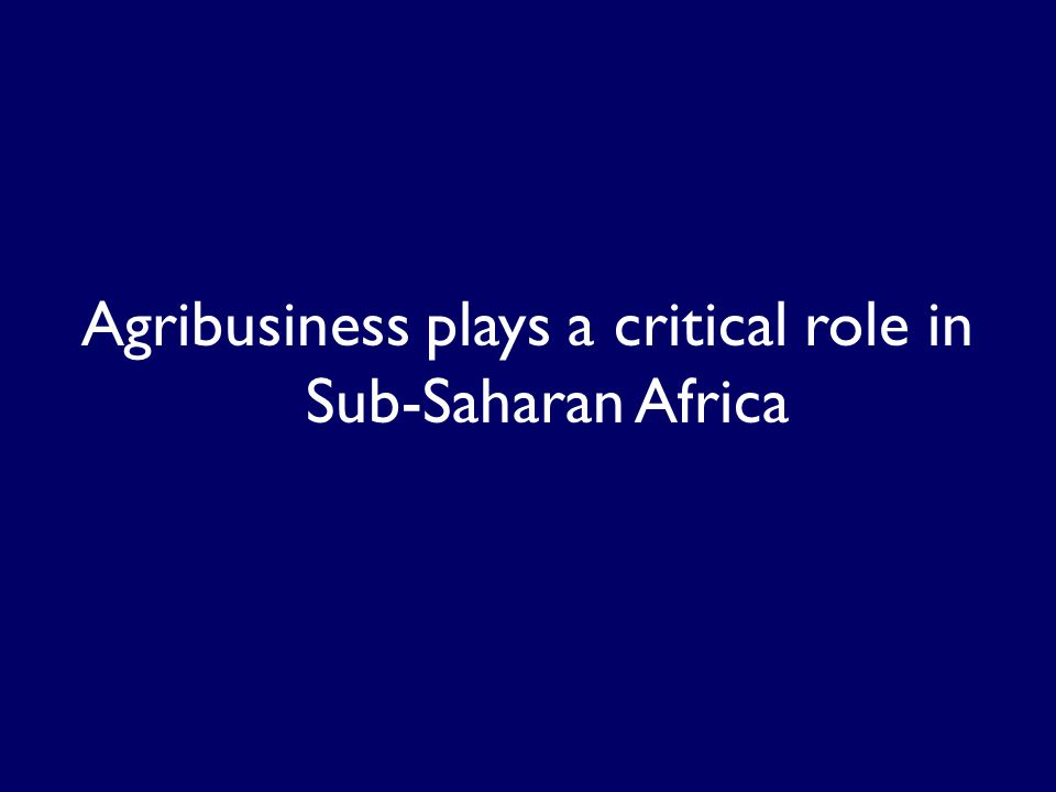 Agribusiness plays a critical role in Sub-Saharan Africa