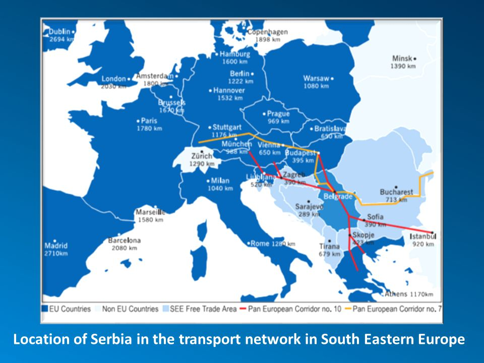 Location of Serbia in the transport network in South Eastern Europe