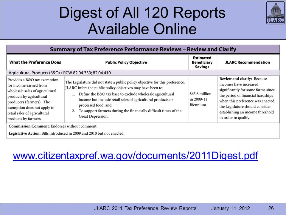 January 11, 2012 Digest of All 120 Reports Available Online JLARC 2011 Tax Preference Review Reports26 www.citizentaxpref.wa.gov/documents/2011Digest.pdf