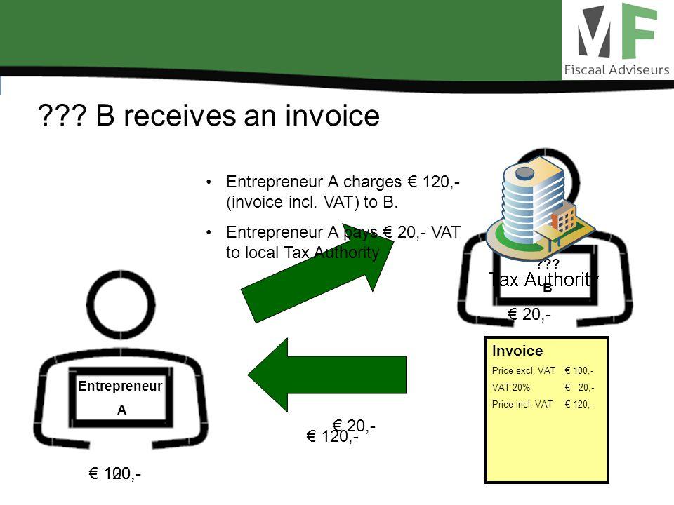 . B receives an invoice Entrepreneur A . B 120,- Invoice Price excl.