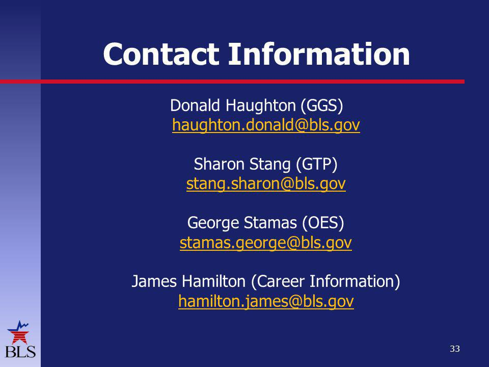 Contact Information Donald Haughton (GGS) Sharon Stang (GTP) George Stamas (OES) James Hamilton (Career Information)   33
