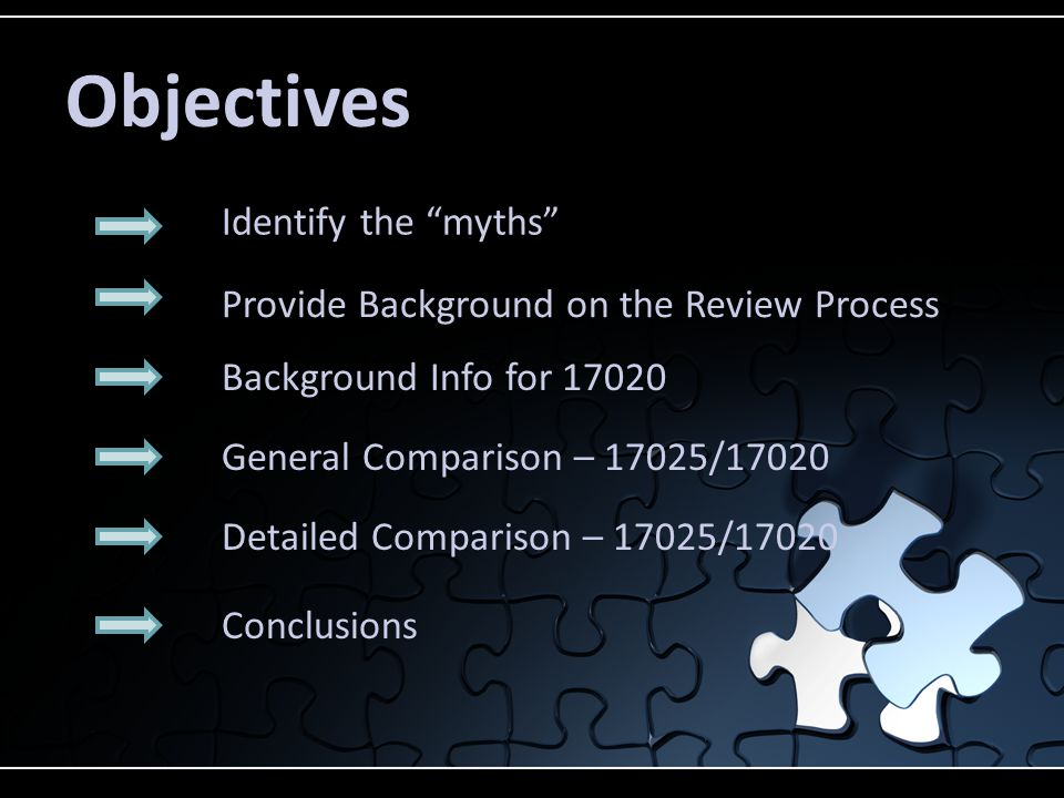 Objectives Identify the myths Provide Background on the Review Process General Comparison – 17025/17020 Detailed Comparison – 17025/17020 Conclusions