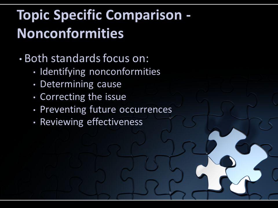 Topic Specific Comparison - Nonconformities Both standards focus on: Identifying nonconformities Determining cause Correcting the issue Preventing fut