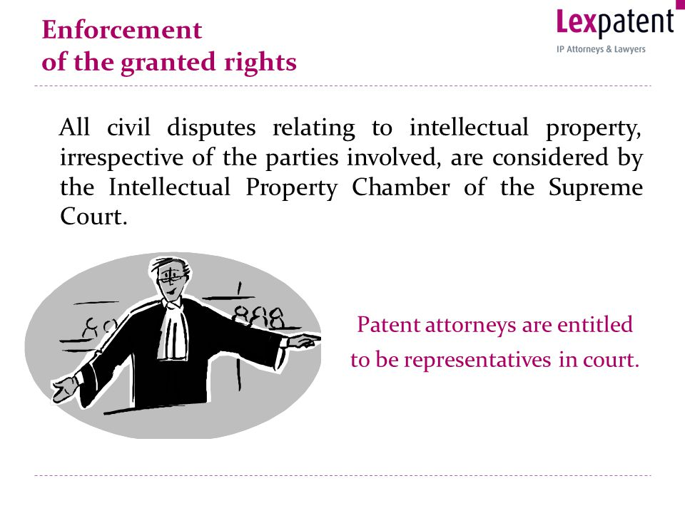 Enforcement of the granted rights All civil disputes relating to intellectual property, irrespective of the parties involved, are considered by the Intellectual Property Chamber of the Supreme Court.