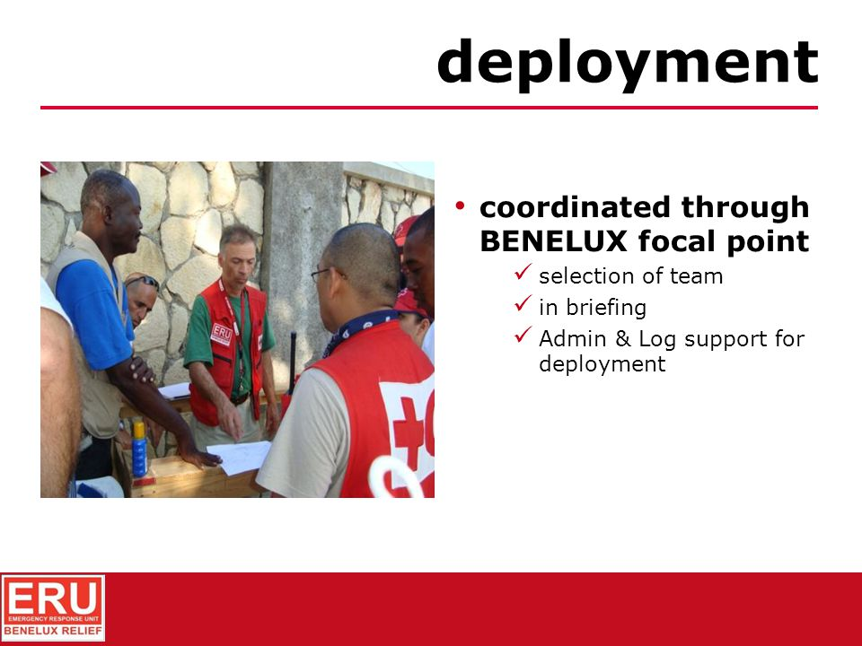training personnel purchase/packing collective equipment (modular) personnal equipment funding preliminary activities