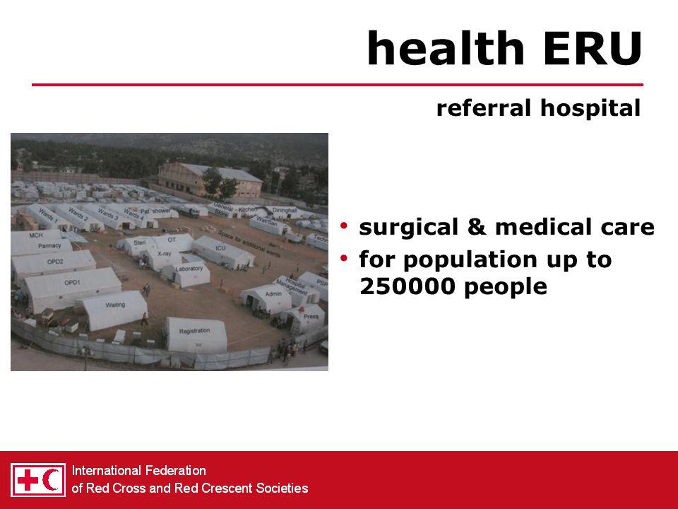 operational within 48 hrs, during max 10 days first aid, triage, medevac health ERU rapid deployment hospital