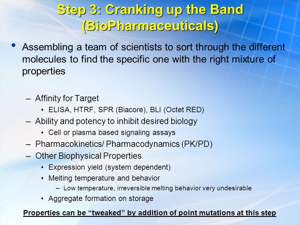 Step 3: Cranking up the Band (BioPharmaceuticals) Assembling a team of scientists to sort through the different molecules to find the specific one with the right mixture of properties –Affinity for Target ELISA, HTRF, SPR (Biacore), BLI (Octet RED) –Ability and potency to inhibit desired biology Cell or plasma based signaling assays –Pharmacokinetics/ Pharmacodynamics (PK/PD) –Other Biophysical Properties Expression yield (system dependent) Melting temperature and behavior –Low temperature, irreversible melting behavior very undesirable Aggregate formation on storage Properties can be tweaked by addition of point mutations at this step