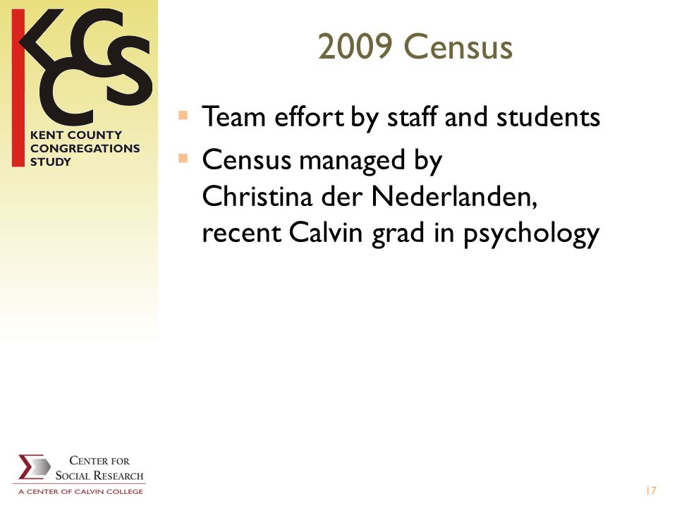 2009 Census Team effort by staff and students Census managed by Christina der Nederlanden, recent Calvin grad in psychology 17