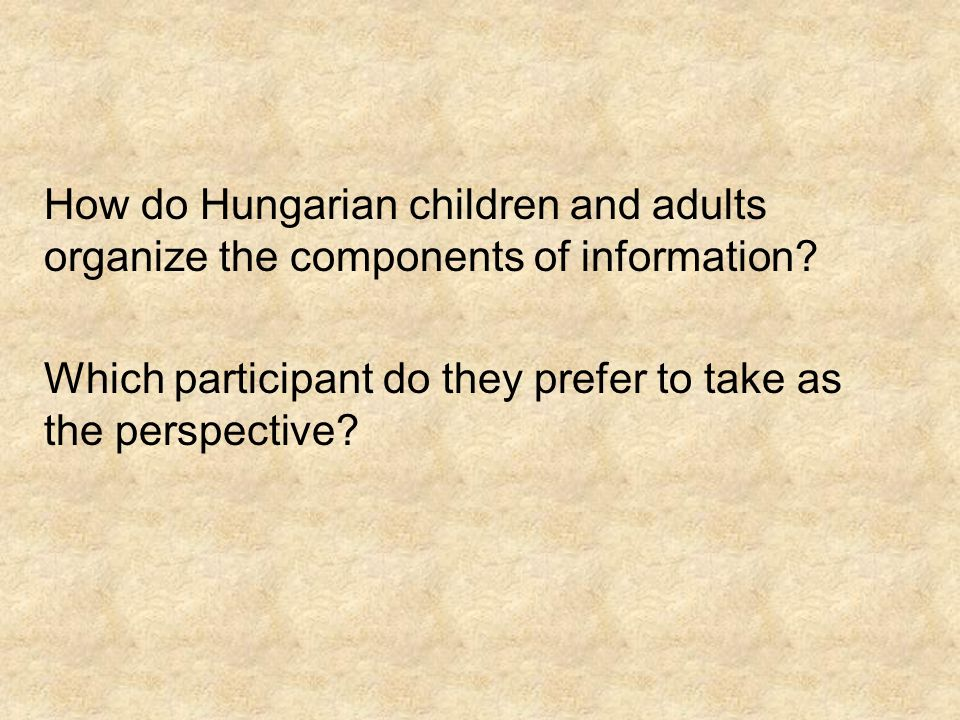 How do Hungarian children and adults organize the components of information? Which participant do they prefer to take as the perspective?