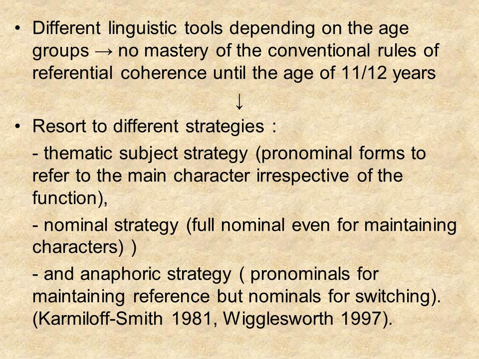 Different linguistic tools depending on the age groups no mastery of the conventional rules of referential coherence until the age of 11/12 years Reso