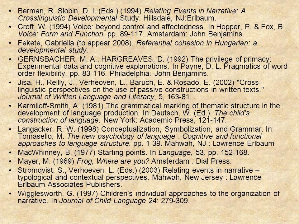 Berman, R. Slobin, D. I.