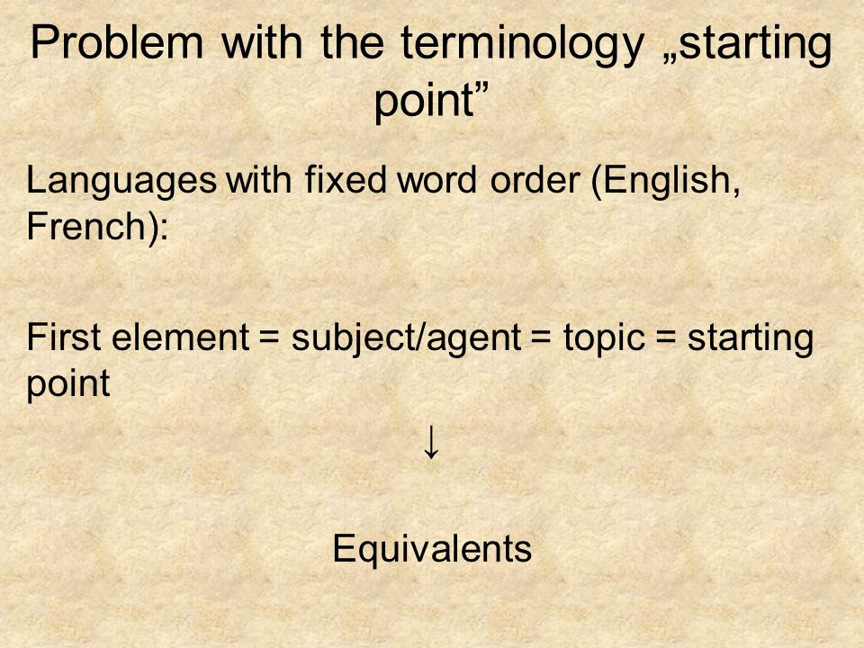 Problem with the terminology starting point Languages with fixed word order (English, French): First element = subject/agent = topic = starting point