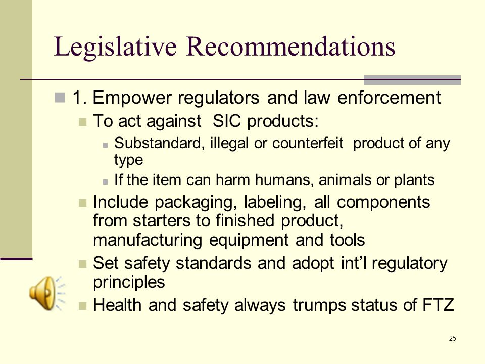 25 Legislative Recommendations 1.