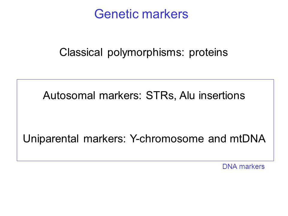 Genetic markers Classical polymorphisms: proteins Autosomal markers: STRs, Alu insertions Uniparental markers: Y-chromosome and mtDNA DNA markers