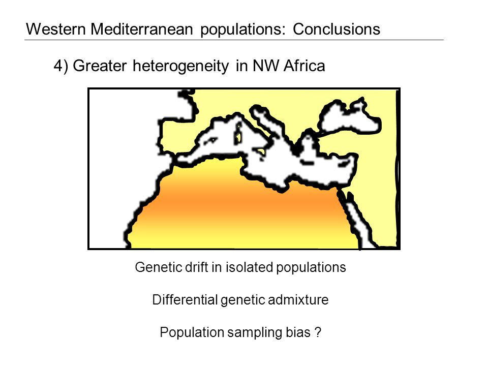 4) Greater heterogeneity in NW Africa Genetic drift in isolated populations Differential genetic admixture Population sampling bias