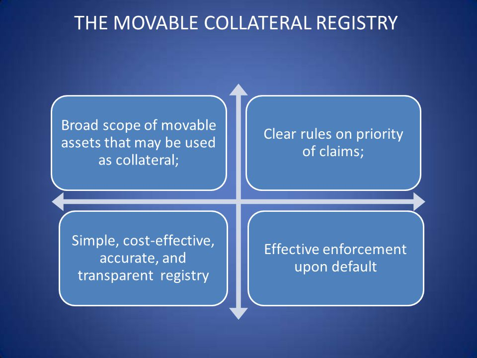 THE MOVABLE COLLATERAL REGISTRY Broad scope of movable assets that may be used as collateral; Clear rules on priority of claims; Simple, cost-effective, accurate, and transparent registry Effective enforcement upon default