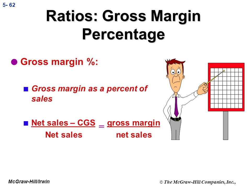 McGraw-Hill/Irwin © The McGraw-Hill Companies, Inc., 5- 61 Gross Margin Percentage Gross Margin Net Sales This measure indicates how much of each sale