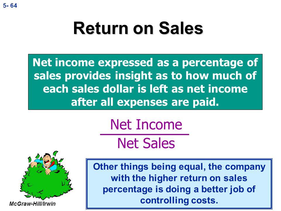 McGraw-Hill/Irwin © The McGraw-Hill Companies, Inc., 5- 63 Ratios: Gross Margin Percentage Net sales – CGS = $1,000 – 400 Net sales$1,000 = $600___ =