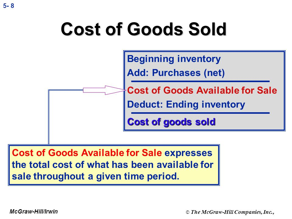 McGraw-Hill/Irwin © The McGraw-Hill Companies, Inc., 5- 68 Income Statement Formats Net Sales 100 Less: Cost of goods sold 60 Gross Profit Margin 40 Operating Expenses: Selling: Sales Salaries 8 Advertising 2 Total Selling 10 Administrative: Admin.