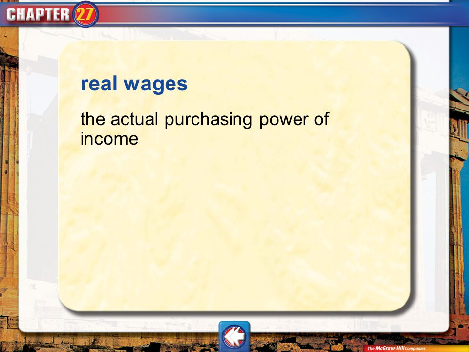 Vocab14 real wages the actual purchasing power of income
