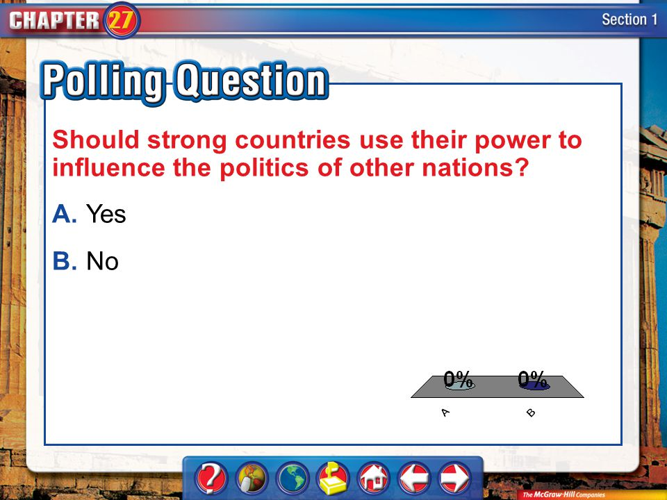 A.A B.B Section 1-Polling Question Should strong countries use their power to influence the politics of other nations? A.Yes B.No