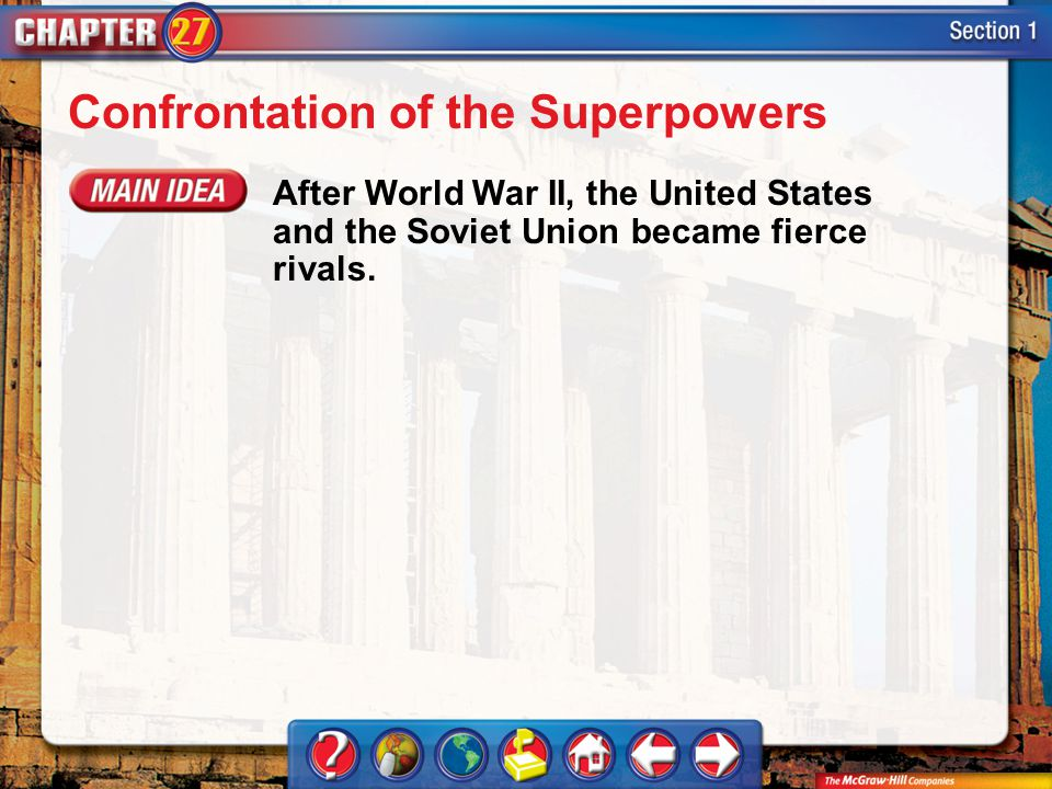 Section 1 Confrontation of the Superpowers After World War II, the United States and the Soviet Union became fierce rivals.