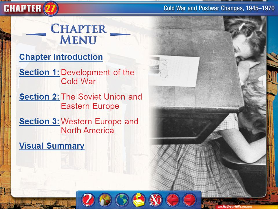 Chapter Menu Chapter Introduction Section 1:Section 1:Development of the Cold War Section 2:Section 2:The Soviet Union and Eastern Europe Section 3:Section 3:Western Europe and North America Visual Summary