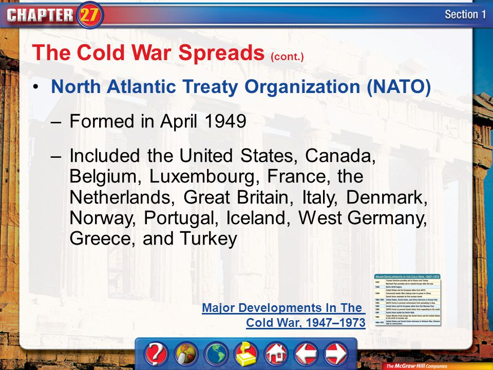 Section 1 North Atlantic Treaty Organization (NATO) The Cold War Spreads (cont.) –Formed in April 1949 –Included the United States, Canada, Belgium, Luxembourg, France, the Netherlands, Great Britain, Italy, Denmark, Norway, Portugal, Iceland, West Germany, Greece, and Turkey Major Developments In The Cold War, 1947–1973