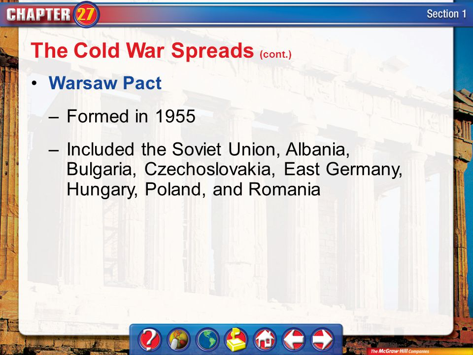 Section 1 Warsaw Pact –Formed in 1955 –Included the Soviet Union, Albania, Bulgaria, Czechoslovakia, East Germany, Hungary, Poland, and Romania The Cold War Spreads (cont.)
