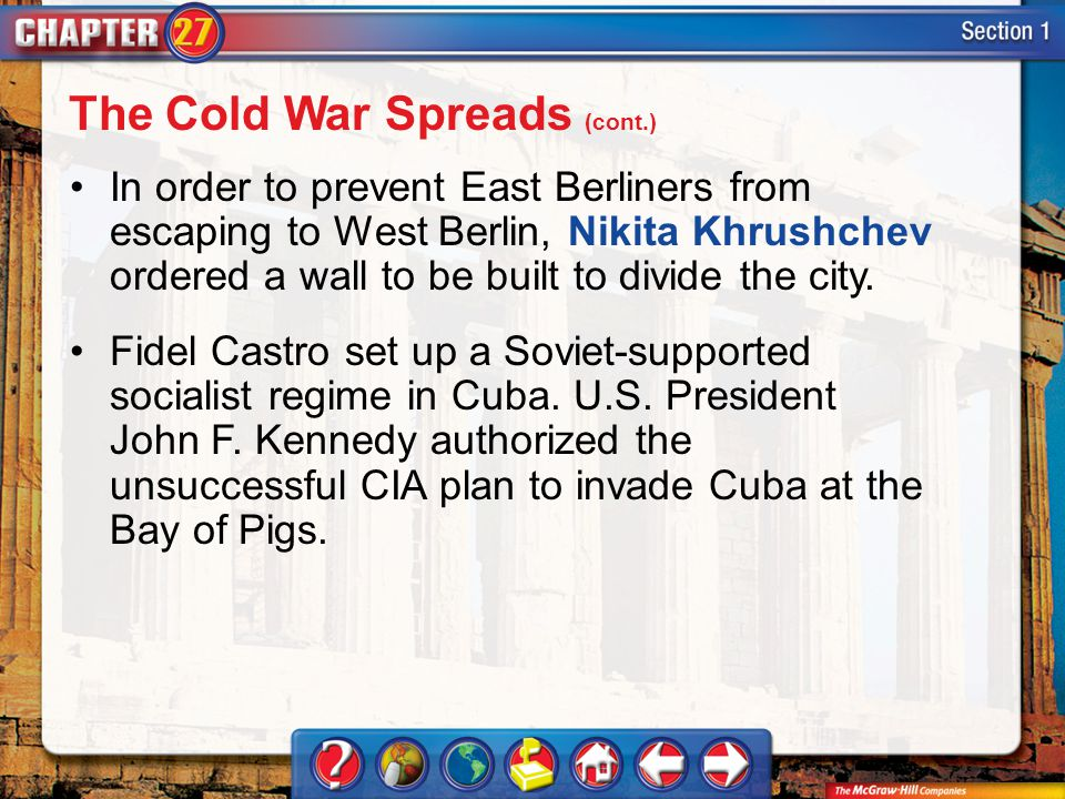 Section 1 In order to prevent East Berliners from escaping to West Berlin, Nikita Khrushchev ordered a wall to be built to divide the city. Fidel Cast