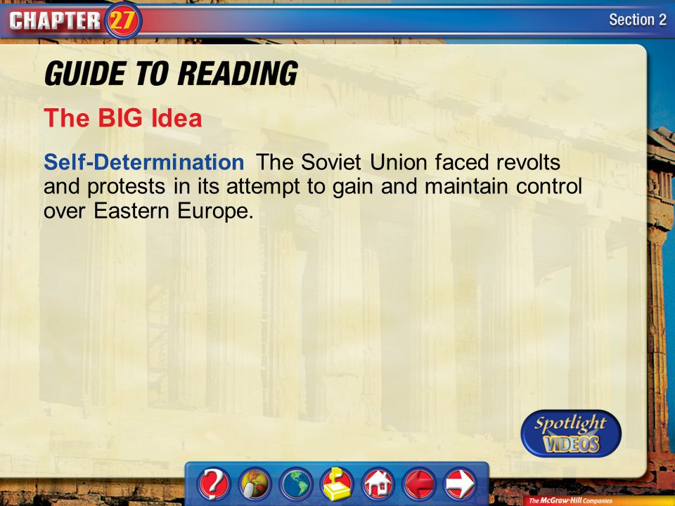 Section 2-Main Idea The BIG Idea Self-Determination The Soviet Union faced revolts and protests in its attempt to gain and maintain control over Eastern Europe.