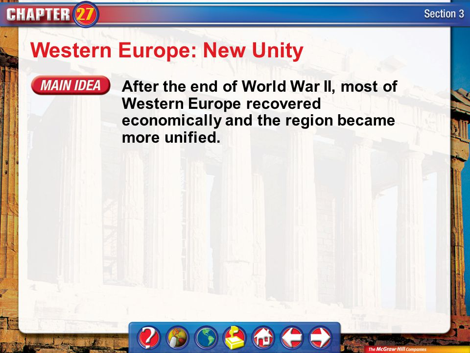 Section 3 Western Europe: New Unity After the end of World War II, most of Western Europe recovered economically and the region became more unified.