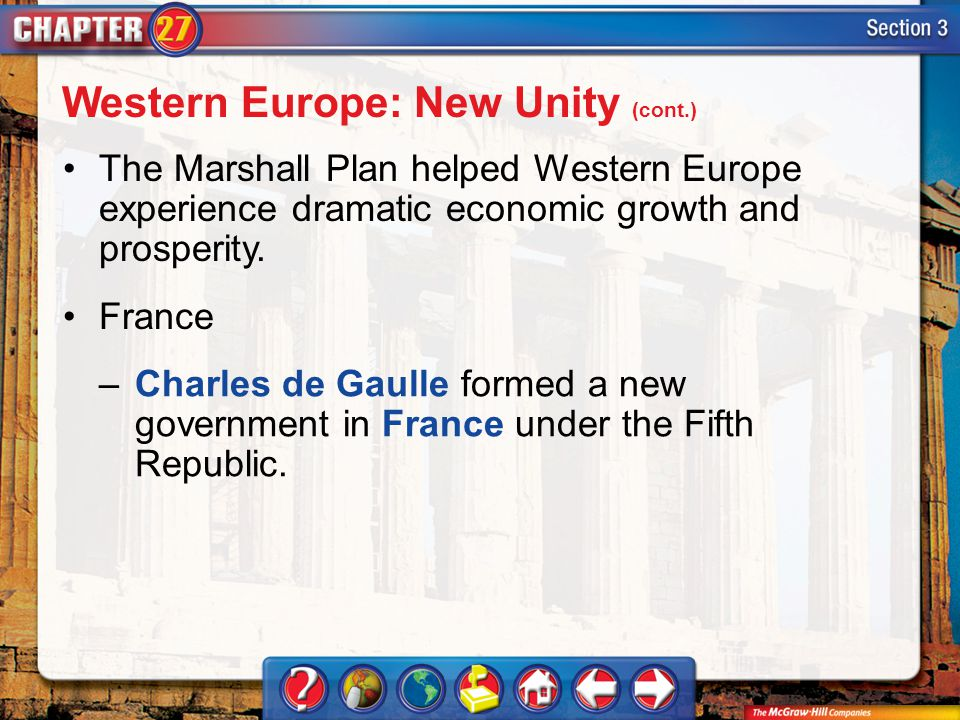 Section 3 The Marshall Plan helped Western Europe experience dramatic economic growth and prosperity. France Western Europe: New Unity (cont.) –Charle