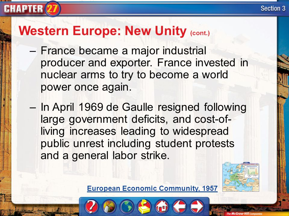 Section 3 –France became a major industrial producer and exporter. France invested in nuclear arms to try to become a world power once again. –In Apri