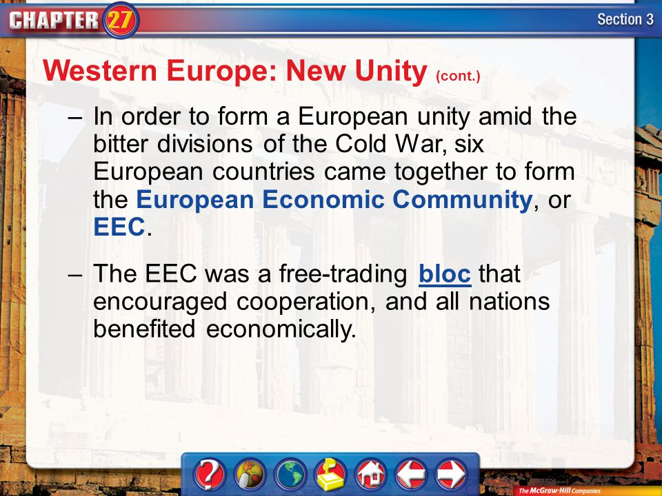 Section 3 –In order to form a European unity amid the bitter divisions of the Cold War, six European countries came together to form the European Economic Community, or EEC.
