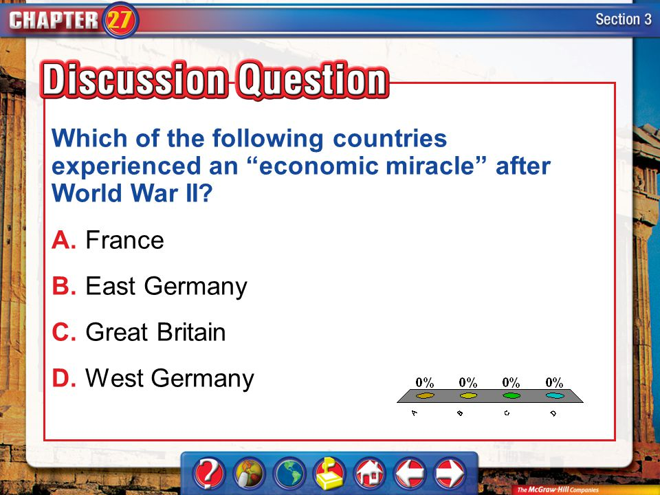 A.A B.B C.C D.D Section 3 Which of the following countries experienced an economic miracle after World War II? A.France B.East Germany C.Great Britain