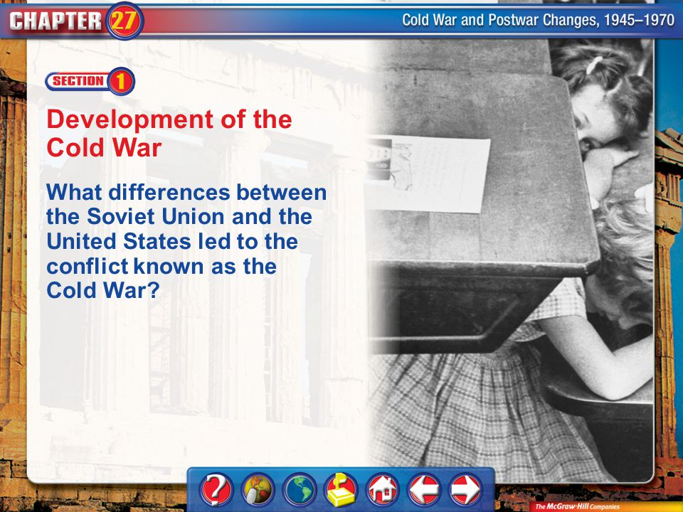 Chapter Intro 1 Development of the Cold War What differences between the Soviet Union and the United States led to the conflict known as the Cold War