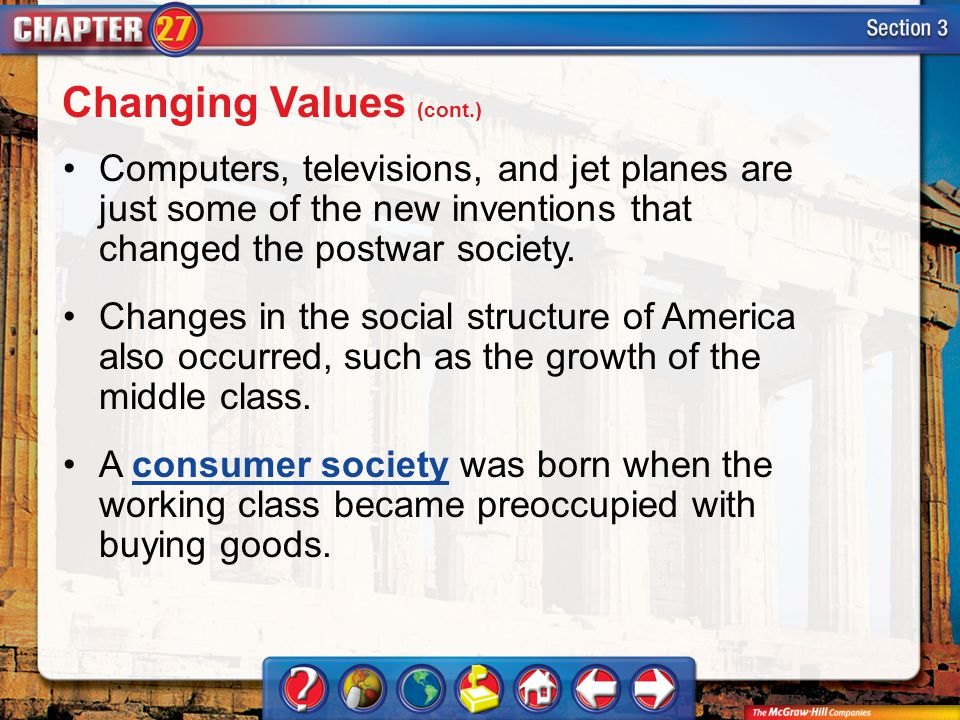 Section 3 Computers, televisions, and jet planes are just some of the new inventions that changed the postwar society. Changes in the social structure