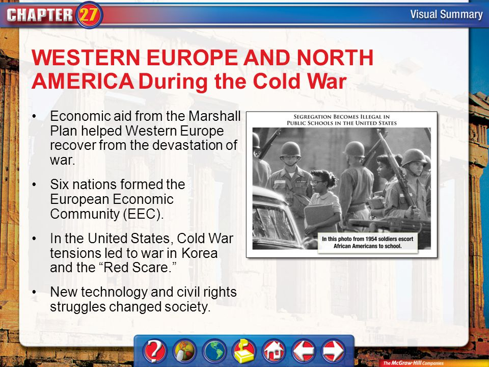 VS 3 WESTERN EUROPE AND NORTH AMERICA During the Cold War Economic aid from the Marshall Plan helped Western Europe recover from the devastation of war.