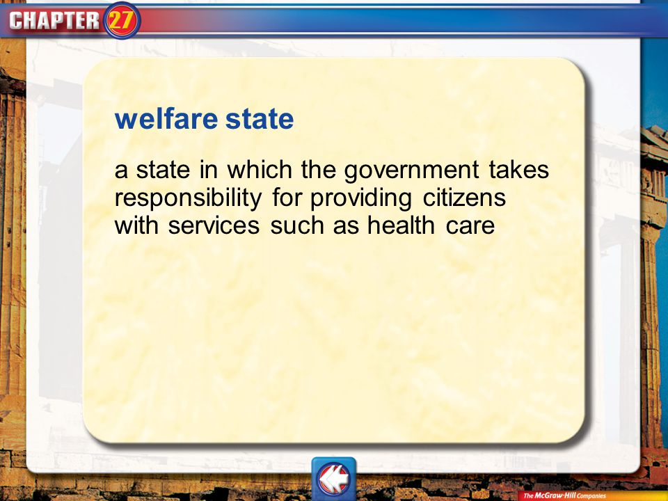 Vocab12 welfare state a state in which the government takes responsibility for providing citizens with services such as health care