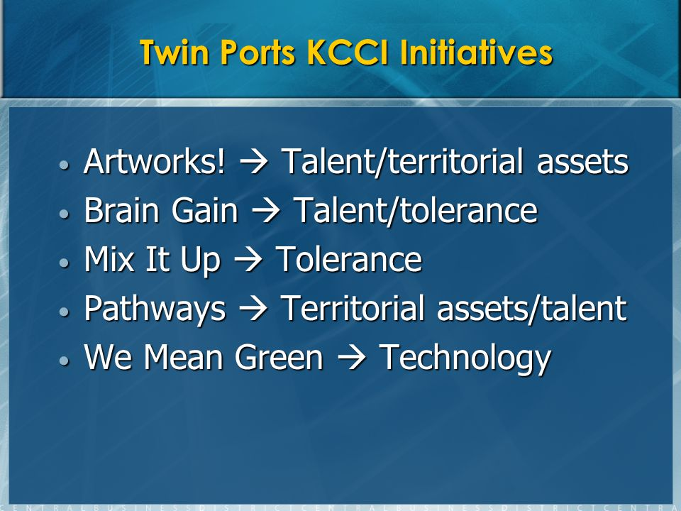 Twin Ports KCCI Initiatives Artworks. Talent/territorial assets Artworks.