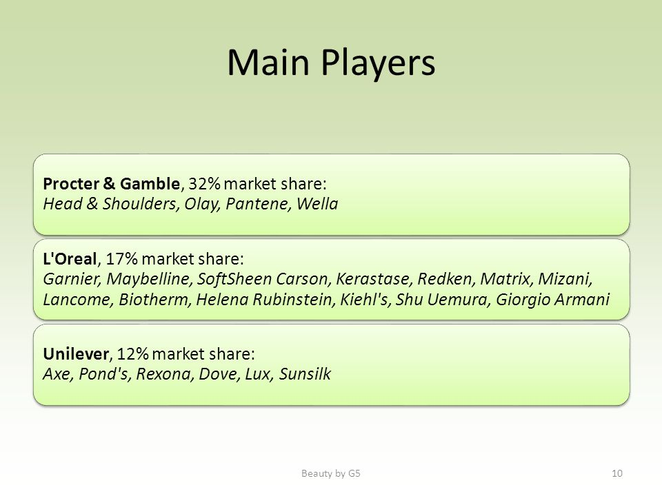 Main Players Procter & Gamble, 32% market share: Head & Shoulders, Olay, Pantene, Wella L'Oreal, 17% market share: Garnier, Maybelline, SoftSheen Cars