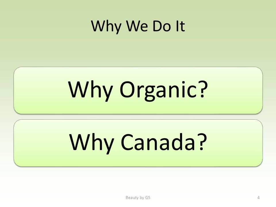 Why We Do It Why Organic Why Canada Beauty by G54