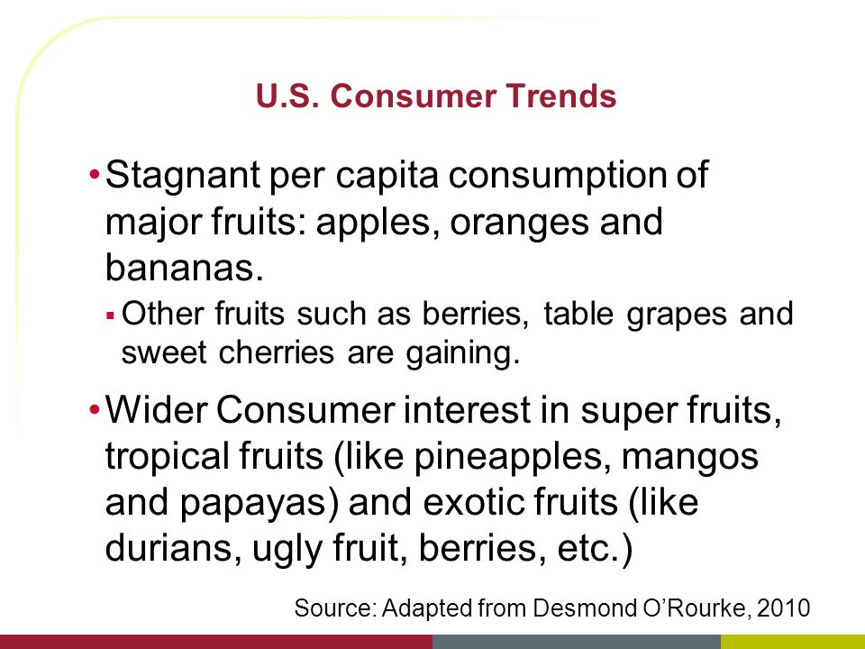 U.S. Consumer Trends Stagnant per capita consumption of major fruits: apples, oranges and bananas. Other fruits such as berries, table grapes and swee