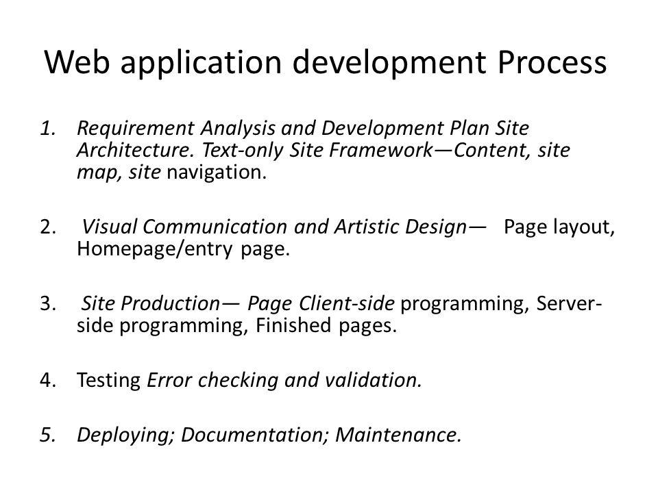 Web application development Process 1.Requirement Analysis and Development Plan Site Architecture.