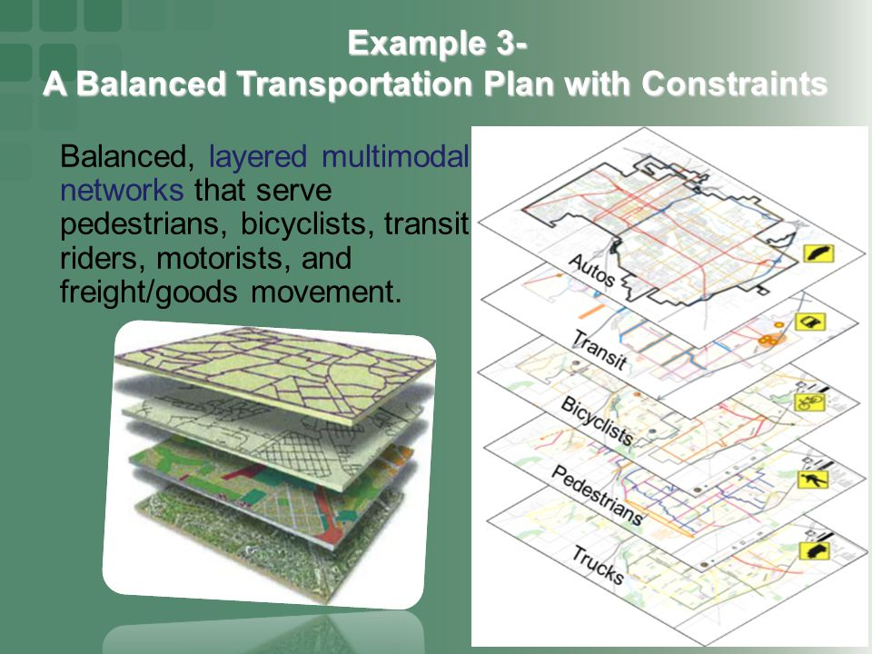 Balanced, layered multimodal networks that serve pedestrians, bicyclists, transit riders, motorists, and freight/goods movement.