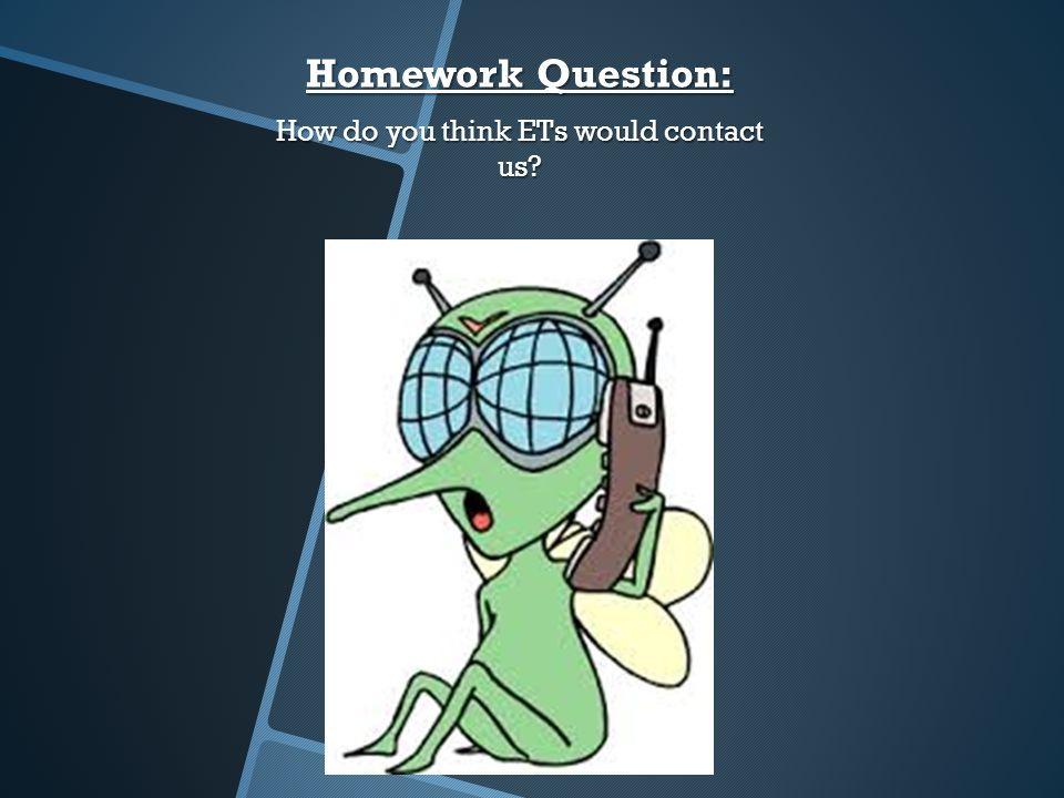 Homework Question: How do you think ETs would contact us